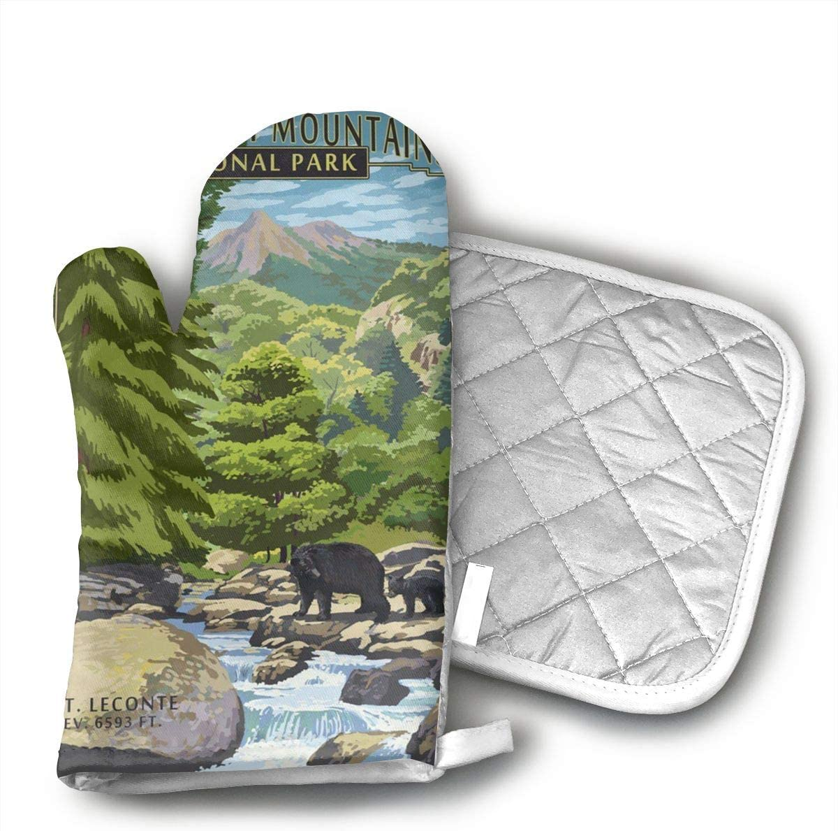 JFNNRUOP Leconte Creek and Mt. Leconte - Great Smoky Mountains National Park Oven Mitts,with Potholders Oven Gloves,Insulated Quilted Cotton Potholders