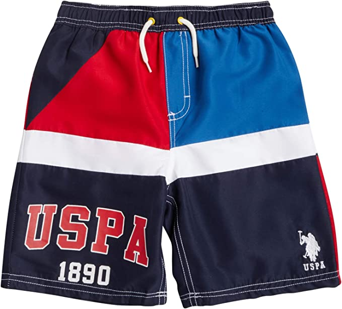 Boys Swimwear Polo Assn U.S Rashguard Swim Shirt and Bathing Suit 2 Piece Set