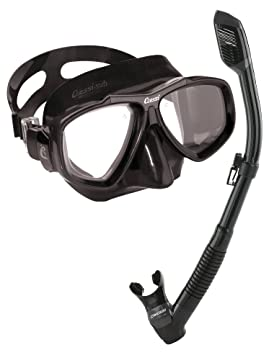 Cressi – Máscara de buceo (Focus Máscara y Dry Snorkel, 55950 alle schwarz