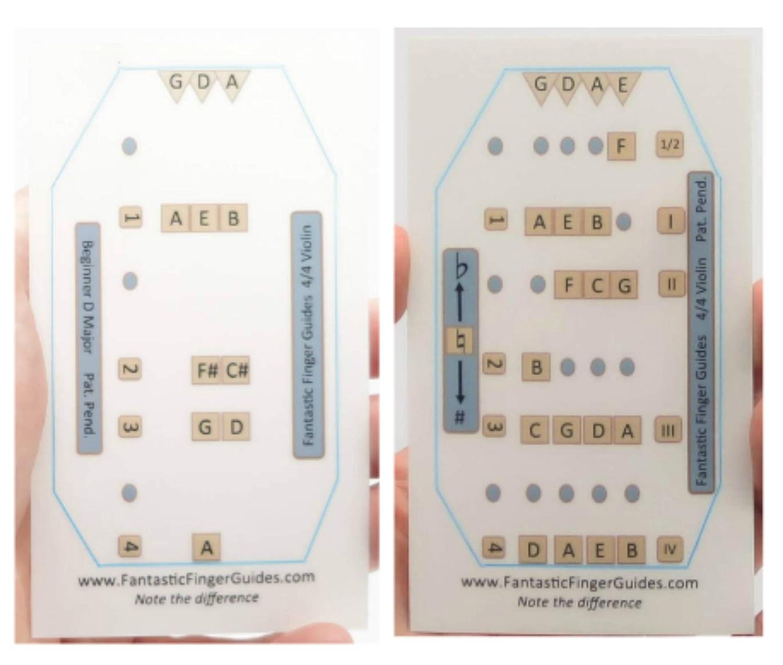 Violin 4//4 Combo Pack: D Major Beginner Guide and All Notes Violin Finger Guides for Full Size Fantastic Finger Guides