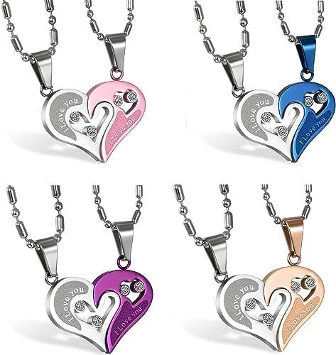 2 pcs Paare Halskette Partnerketten Freundschaftsketten Partneranhänger I