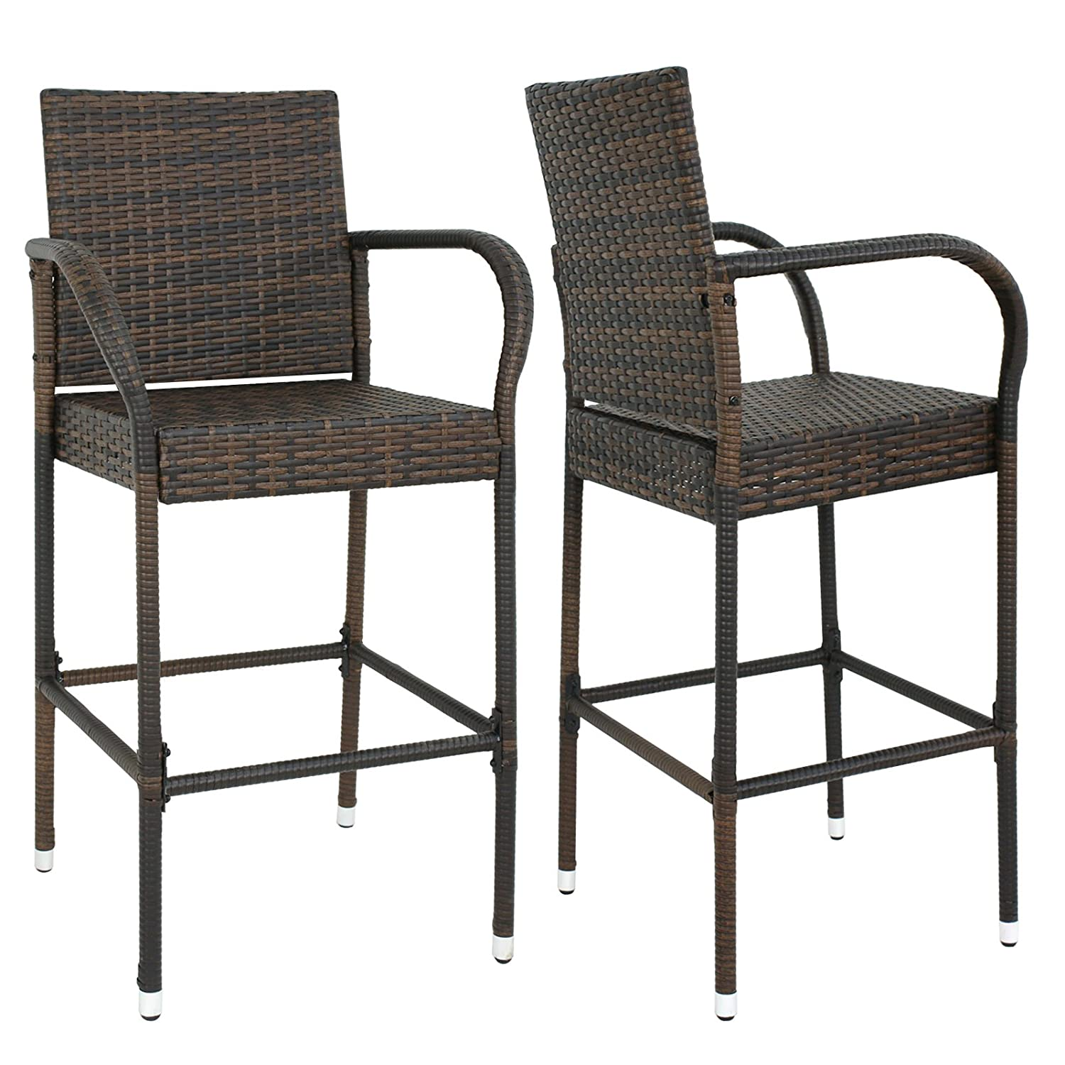 Nova Microdermabrasion Wicker Barstool Outdoor Patio Furniture Bar Stools All Weather Rattan Chair w Armrest and Footrest for Garden Pool Lawn Porch Backyard, Set of 2