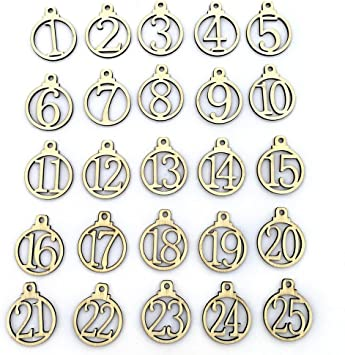 Wooden decoration for Christmas numbers 1-25 Advent numbers Advent calendar numbers for handicrafts Gift tags Christmas tree tags