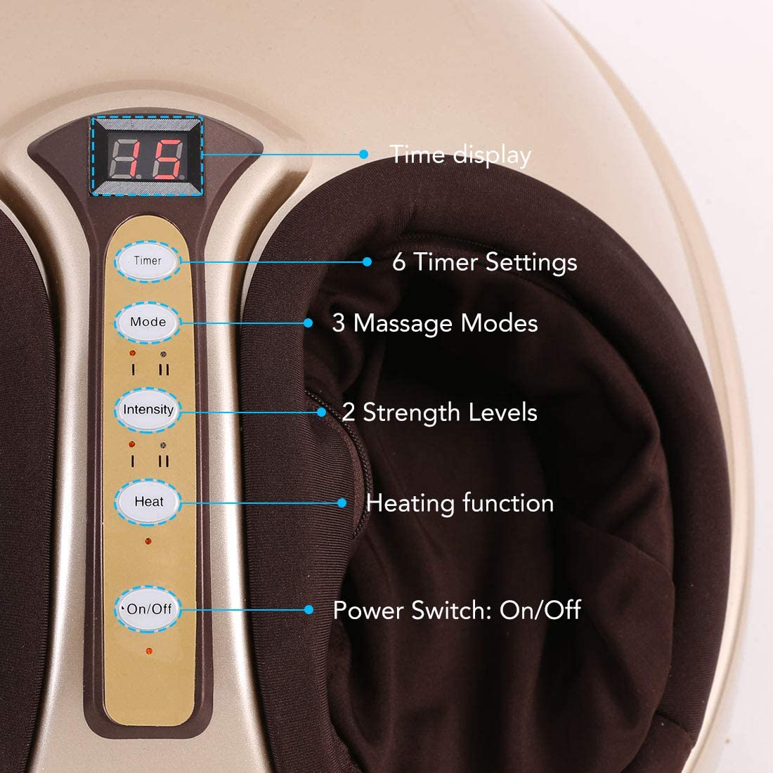 FLEXISPOT Foot Massager Kneading Shiatsu Therapy Plantar Massage with Heat Function Auto-Off Timer and Removable Cover Power Adapter Gold