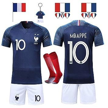 SHOLOV Maillots de Football Hommes Enfants T-Shirt FFF 2 Étoiles Football  2018 Coupe du b8e82da7800d