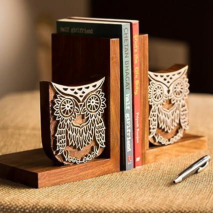 ExclusiveLane Hand Engraved Owl Sheesham Wood Book End (27.7 cm 12.2 cm x 17.8 cm, Brown)