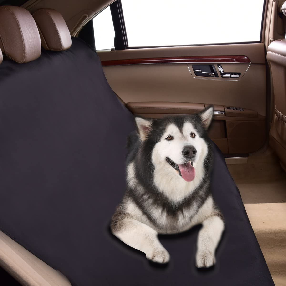 CAR PASS Wateproof Car Bench Seat Covers for Dogs,Pets,Classical Black Universal fit for Trucks,sedans,Suvs,Vans
