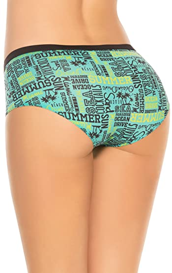 Women's Boyshort Panty Lace Trim Printed Fabric