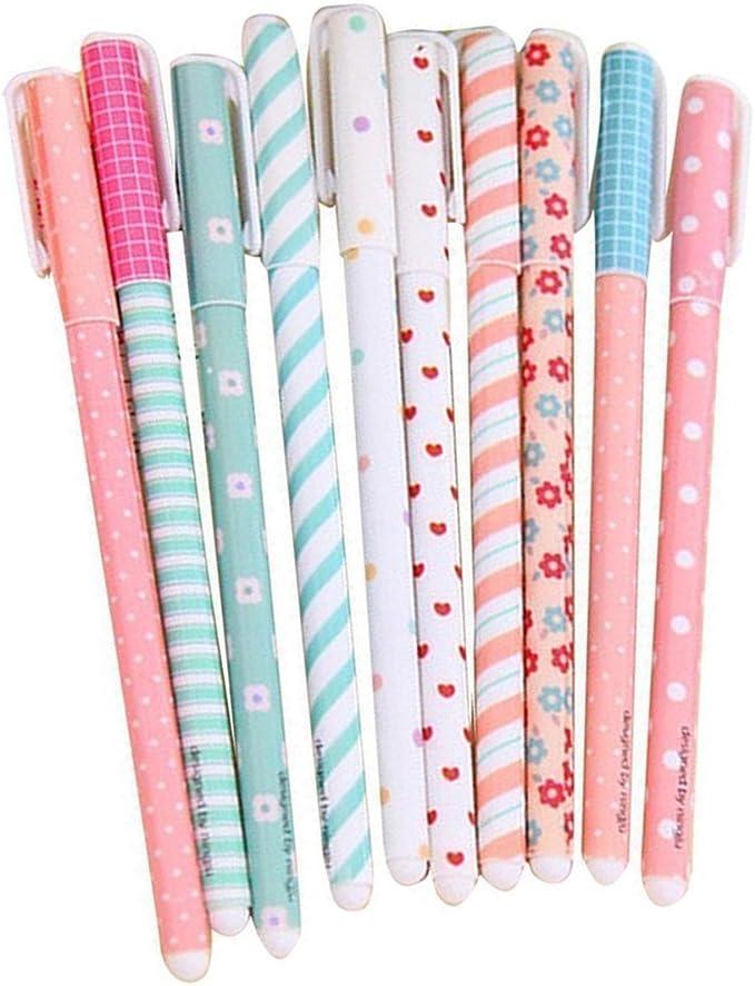 Cdet 10X Pluma de Gel Floral /útiles Escolares canetas papeler/ía Escolar Plumas Kawaii