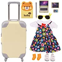 ZWSISU 11PCS American Doll Clothes Shoes Sunglasses Laptop and Suitcase Playset for Girl 18 Inch Dolls (Yellow)