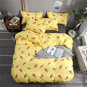 Jinqiuyuan Juego de Funda de Edredón Planta de Conjunto de Fruta de impresión edredón (Monopoly Doble Suite) 1 Cubierta del edredón Almohada 2 Juegos de sábanas Juego de 3: Amazon.es: Hogar