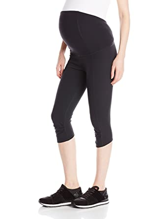 a021140856bc4 Ingrid & Isabel Women's Crossover Panel Active Maternity Pant-Knee, Black,  ...