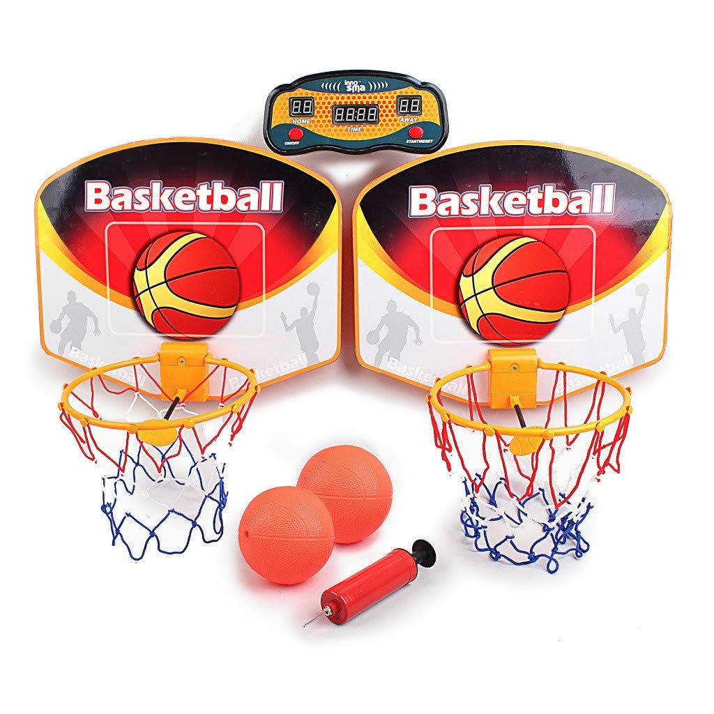 Double Basketball Board Parent-Child Interaction Toys with LED Screen Scorer & 2 Basketball
