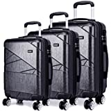 "Kono Designer Light Weight Hardshell 4 spinner wheels Travel Trolley Suitcase Luggage 3 Piece Set/ 20'' inch Cabin Size (20""+24""+28"", Grey)"