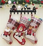 Cozywind Medias de Navidad Decoración, 3pcs Calcetines de Navidad Bolsas de Regalo para Navidad Colgantes del Arbol,Tamaño Grande