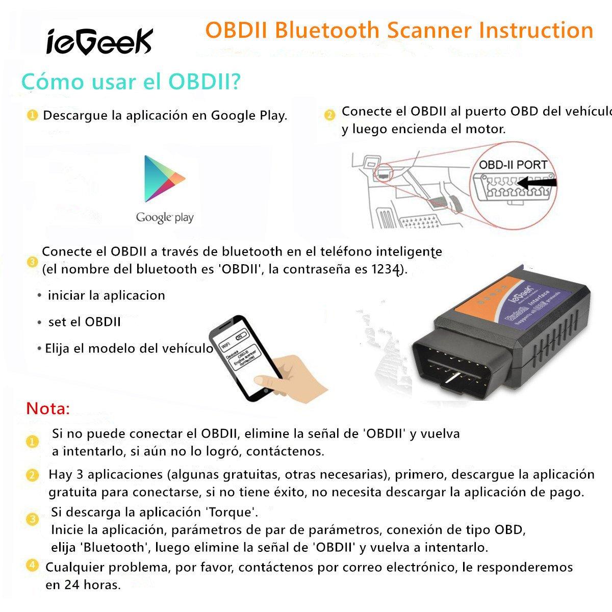 ieGeek Bluetooth 1.5 Mini OBDII Auto Coche, OBD2 Escáner Herramienta ...