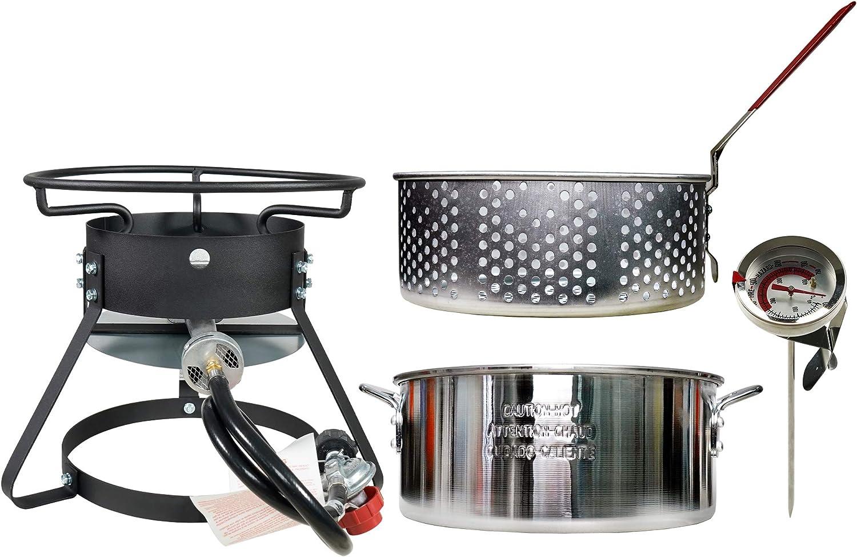 Summerville Outdoor Propane Cooker Fish Fryer with Round Steamer Kit 10-Quart 50,000 BTU Aluminum Fry Pan Portable Gas Burner