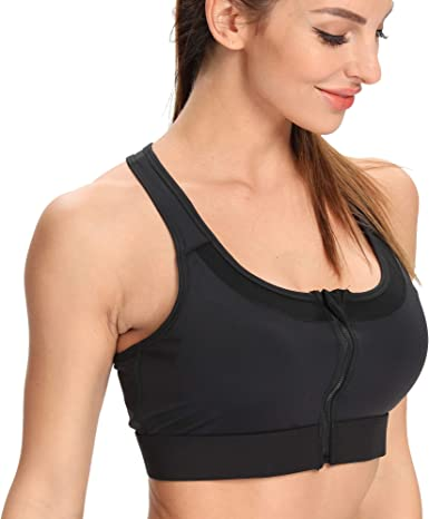 Women/'s Zip Front Sports Padded Bra Wireless High Quality Active Yoga Sports Bra
