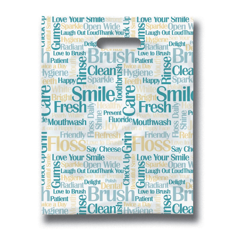Practicon 11096133 Tooth Talk Scatterprint Bags, 9'' x 12'' (Pack of 100)