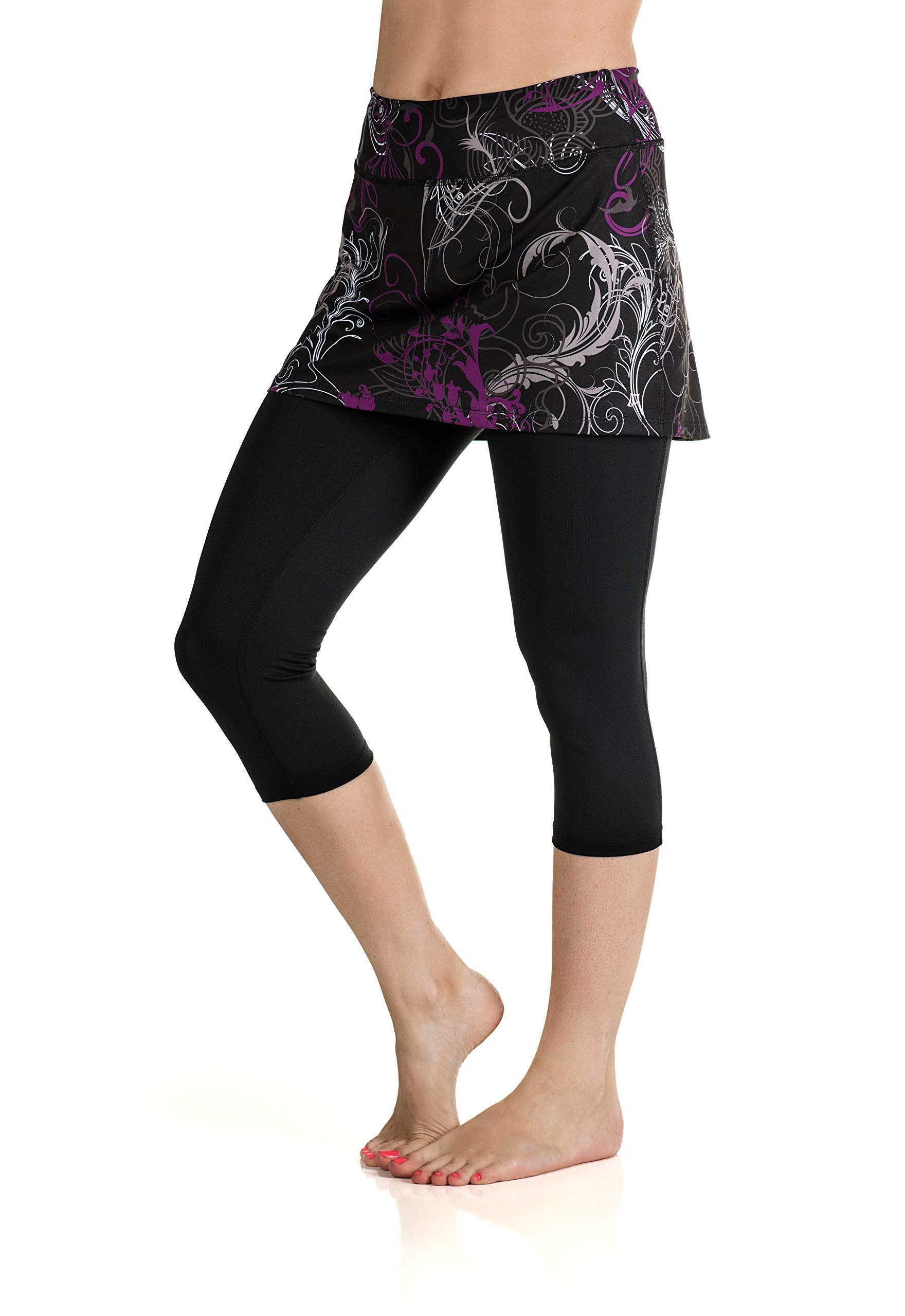 Skirt Sports Women's Lotta Breeze Capri Skirt, Starlet Print/Black, Large by Skirt Sports