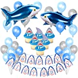 Kreatwow Shark Party Decorations Supplies for Kids Cumpleaños Shark Balloons Cupcake Topper para Baby Shark Party…