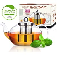 AckMond 800 ml Clear Glass Teapot with Stainless Steel Infuser & Lid, Borosilicate Glass Tea Pots