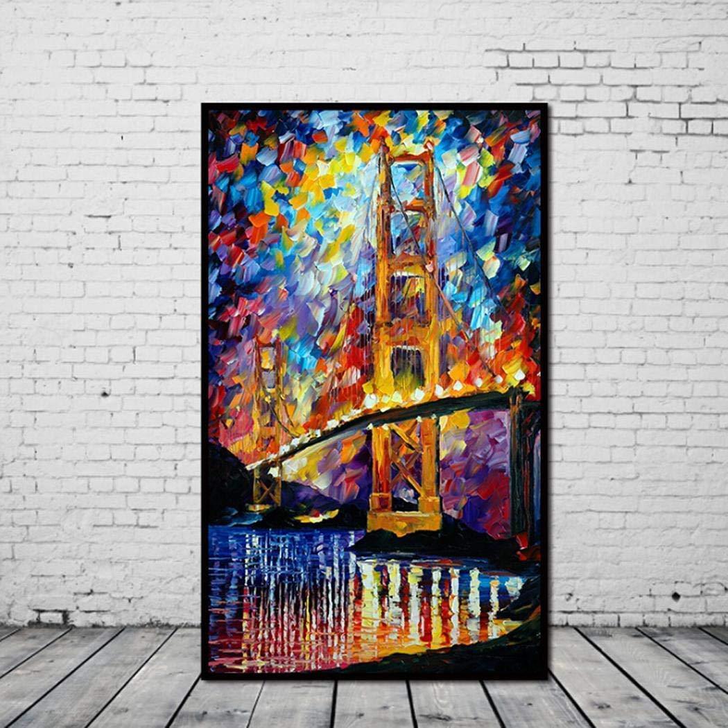Kaluo Frameless Art Golden Gate Bridge Canvas Oil Painting Home Art Wall Decoration Oil Paintings