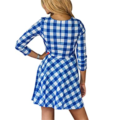 Henraly Blue Red Plaid Summer Kawaii Women Dress Fit Flare Mini Sexy Sundress Party Vestido LX319