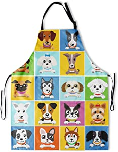 Granbey Cute Dog Apron with 2 Pockets Boston Terrier Corgi Poodle Chow Teddy French Bulldog Aprons with Adjustable Neck Straps Zoo Waterproof Bib Colorful Lattice Home Pets Shop Grooming Bib 33x28