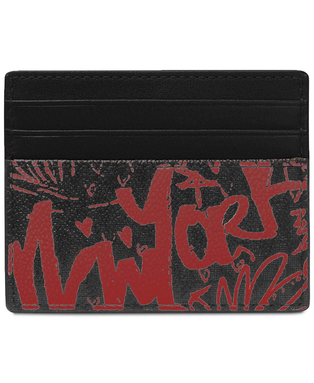 0756226c6057 Michael Kors Men`s Harrison Leather Card Case (Black(0228) Crimson ...