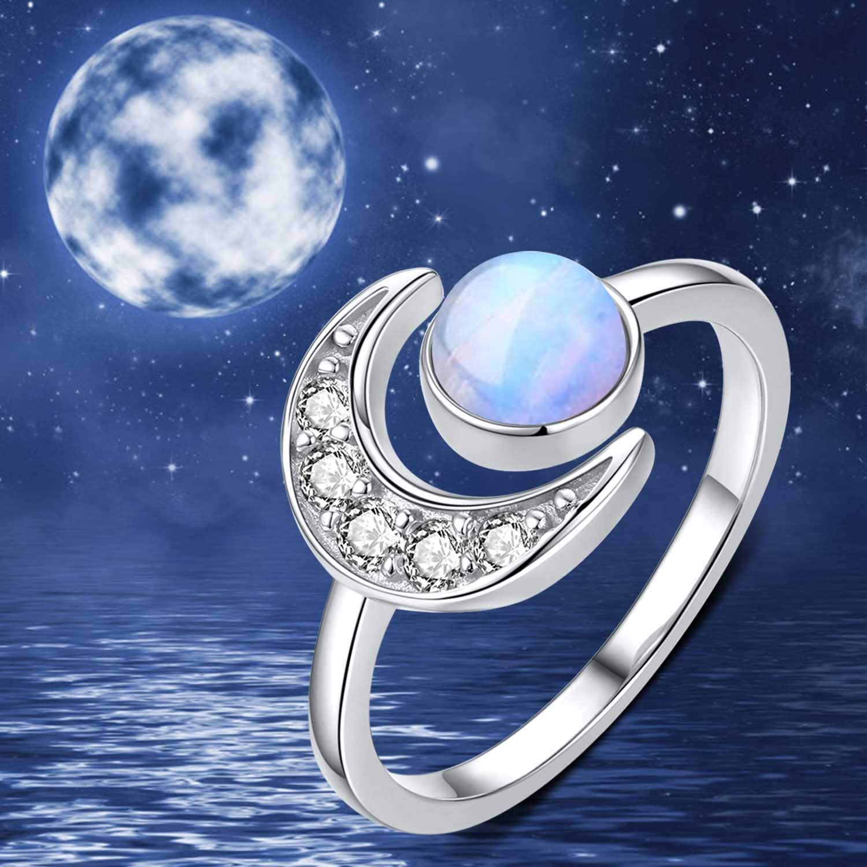 promesse Bague R/églable Ouvert Lune /Étoile avec bo/îte cadeau pour femme fian/çailles Bague en argent sterling 925 avec pierre de lune pour femmes et filles anniversaire