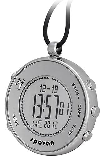 Reloj De Bolsillo Brújula Altímetro Termómetro Altímetro Barómetro Sport Outdoor Escalada Digital Montañismo Correr Plata Reloj hombre mujer: Amazon.es: ...
