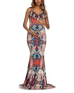 swall owuk Embarazadas Mujeres Boho Larga Máxima de Vestido Mujeres Floral Impreso Sling Cocktail Noche de