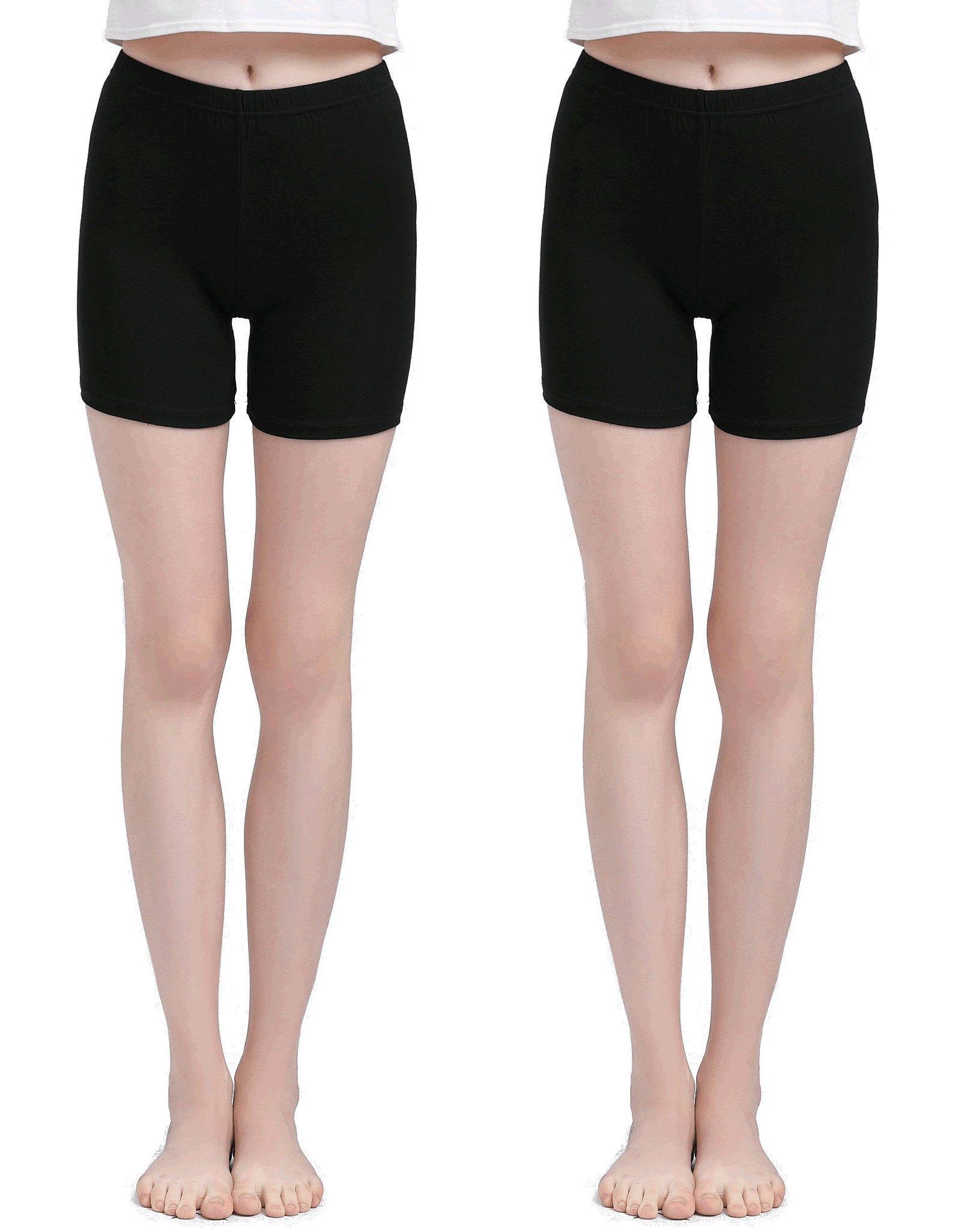 Vinconie Black Knee Length Leggings Pants Under Dress Soft Thin Leggings