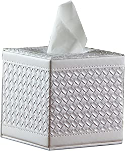 Square PU Leather Tissue Box Cover Roll Paper Holder for Home Office Hotel (White Woven)