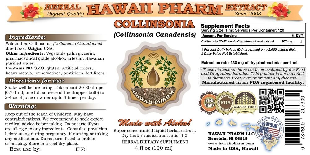 Amazon.com: Collinsonia Tincture, Collinsonia (Collinsonia Canadensis) Root Powder Liquid Extract 4 oz by HawaiiPharm: Health & Personal Care