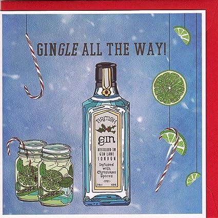 Gingle All The Way Carte de Noël Motif gin insolite dessinée à la