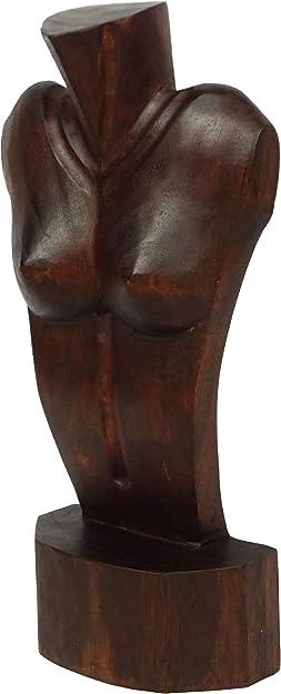 Artisanal Pr/ésentoir sp/écial Colliers Longs H50cm Buste en Bois Massif Noir