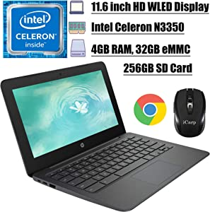 2020 Premium HP Chromebook 11 Latop Computer 11.6 inch HD WLED Display Intel Celeron Processor N3350 4GB DDR4 32GB eMMC + 256GB SD Card Type C Webcam WiFi Chrome OS + iCarp Wireless Mouse