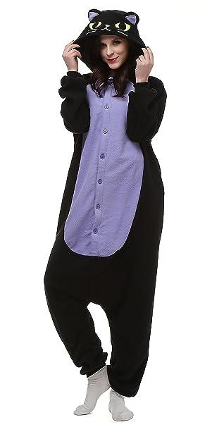 Gato Cosplay Animales Pijamas Mujer Invierno Novedad Navidad Traje Disfraz Adulto Gato de Medianoche
