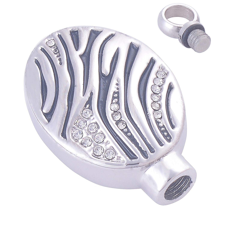 DVANIS Stainless Steel Pet Loss Memorial Cremation Necklace for Ash Keepsake Pendant Crystal Oval Bottle