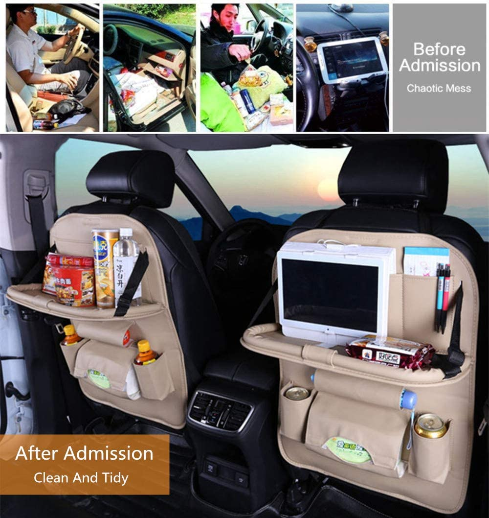 Brown with Table Tray 2PC PU Leather Car Back Seat Organizer for Kids Toy Bottles Storage with Foldable Dining Table Ipad Tablet Holder JAUTO Car Back Seat Organizer with Foldable Table Tray