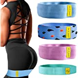 JUNE JJ JUNIPER Fabric Resistance Bands Set for Legs and Butt, 4 Pack Booty Bands,Exercise Bands,Workout Bands,Home Gym Worko