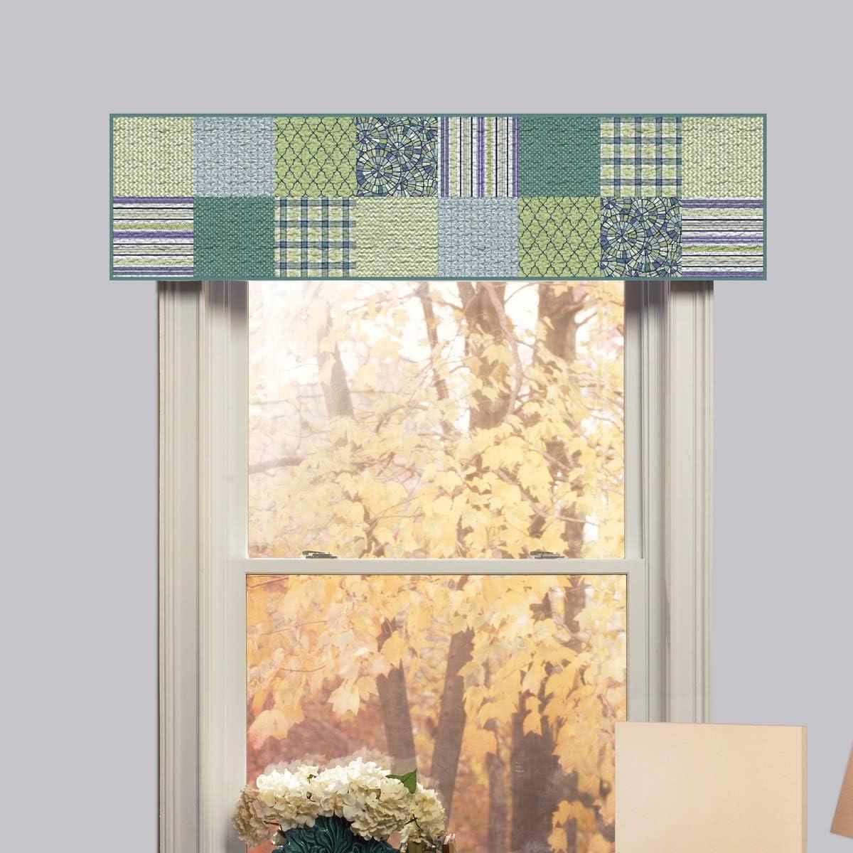 Donna Sharp Valance – Riptide Patch Coastal Decorative Window Treatment with Multicolored Pattern