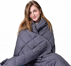 RENPHO Weighted Blanket, Heavy Cool Blanket for Adults, 100% Cotton & Glass Beads(60 x 80 inches,20 lbs) - Grey