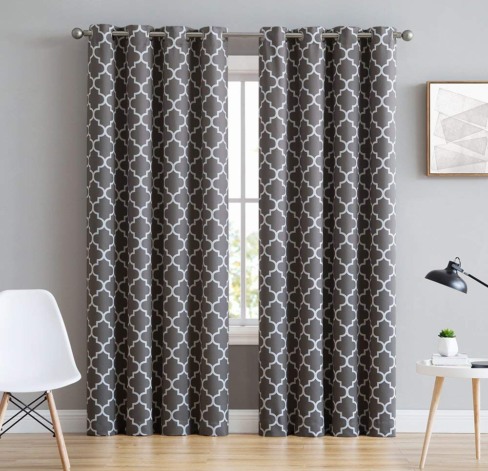 """HLC.ME Lattice Print Thermal Insulated Blackout Room Darkening Energy Efficient Window Curtain Grommet Panels - Set of 2 - 52"""" W x 84"""" L - Grey"""
