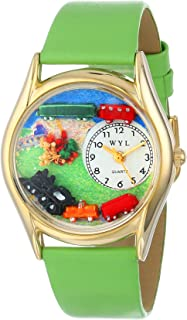 product image for Whimsical Watches Kids' C1610001 Classic Gold Trains Light Green Leather And Goldtone Watch