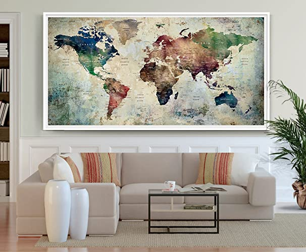 Amazon large world map poster detailed world map print travel large world map poster detailed world map print travel map pastel world map gumiabroncs Image collections