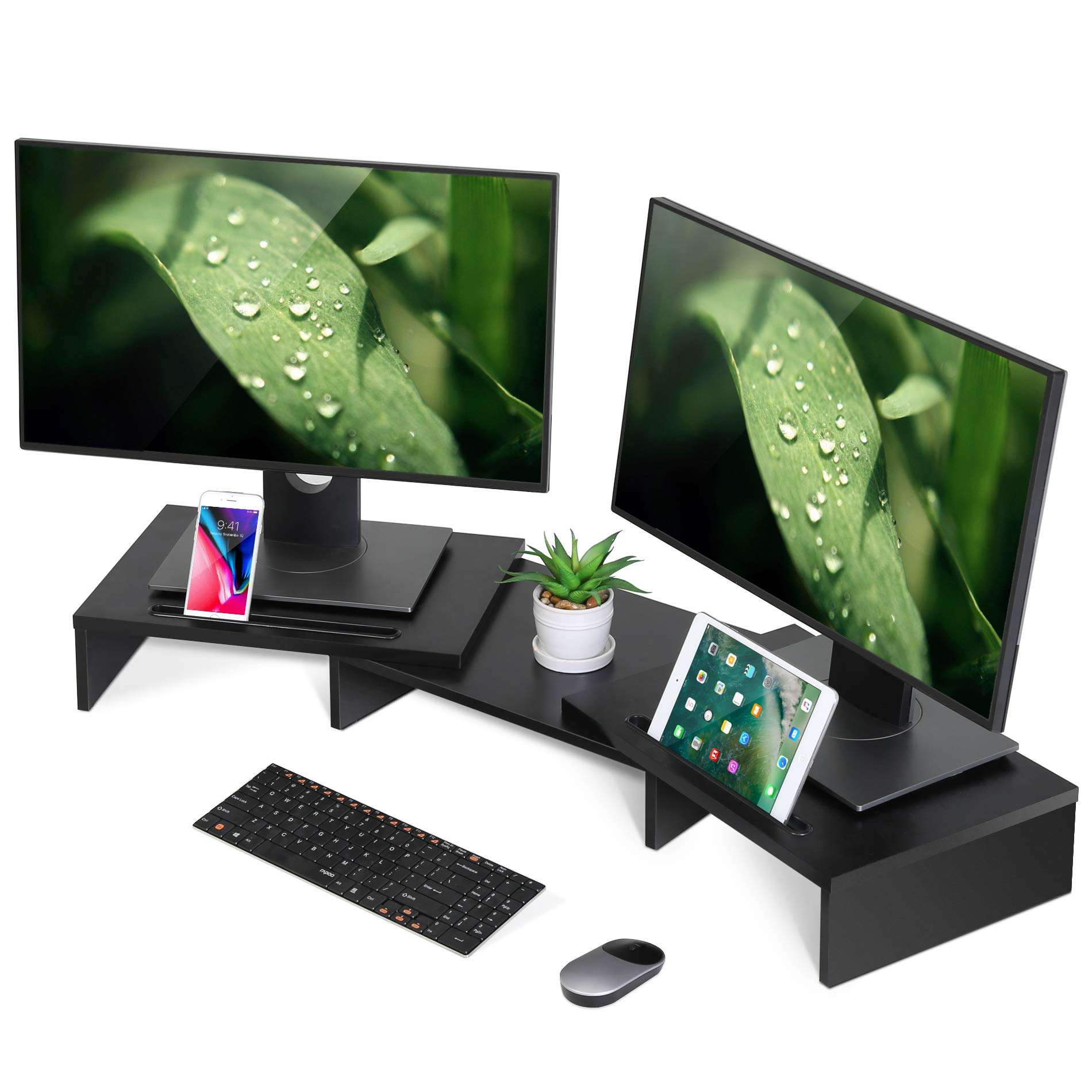 FITUEYES Computer Monitor Riser Desktop Laptop Stand Length Angle Adjustable Speaker PC Stand DT111101WB by FITUEYES