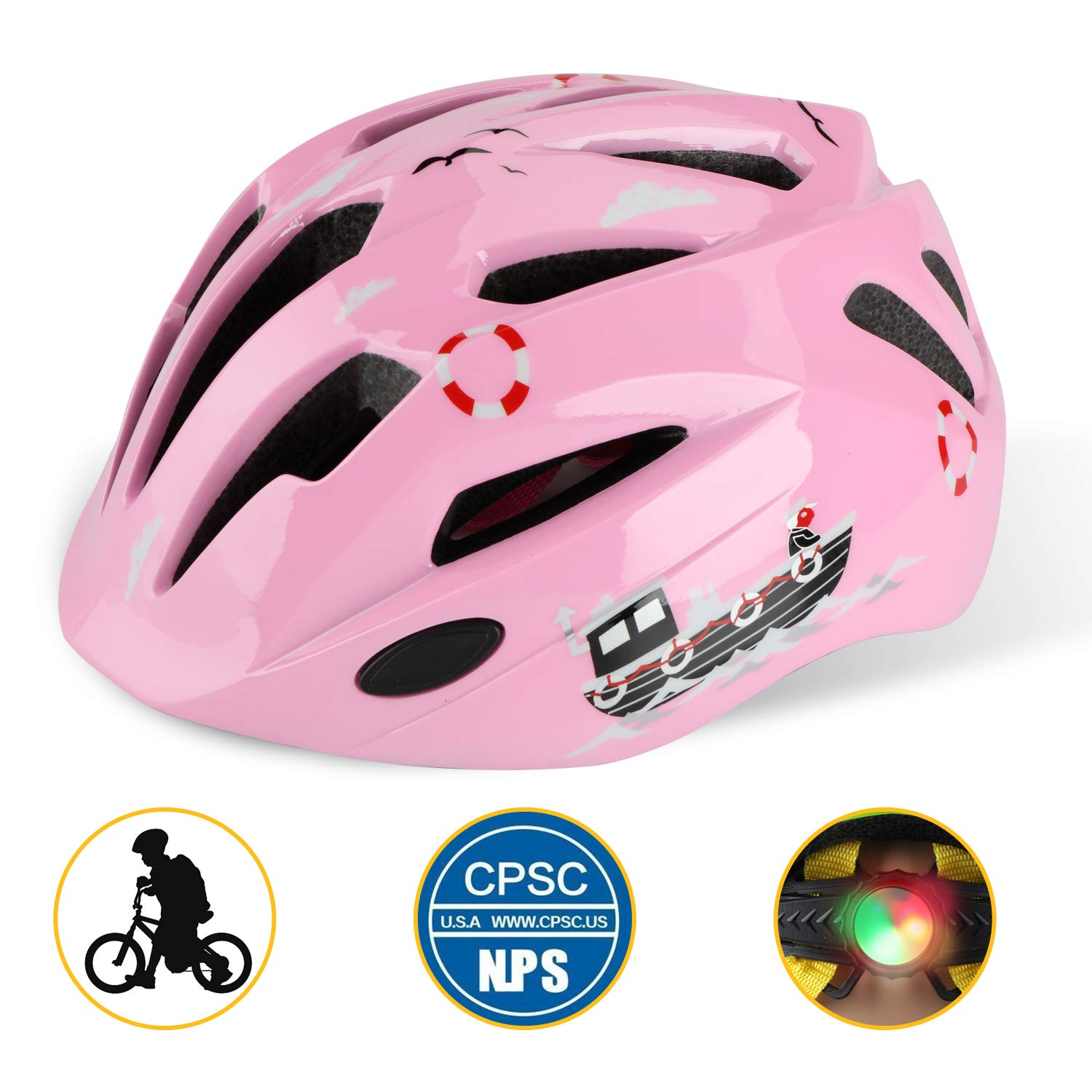 Basecamp Kids Bike Helmet, Children Cycling Helmet CPC Safety Certified 3D Cartoon Infant/Toddler Helmet Skating Boys and Girls Riding Scooter Safety Protective (Pink) by Shinmax